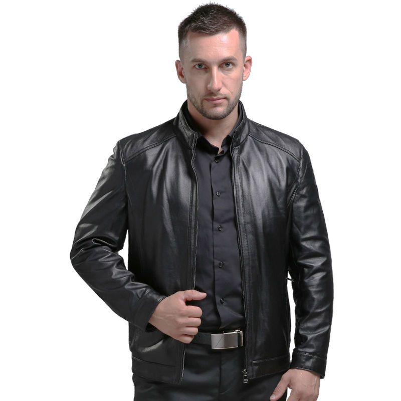 AIBIANOCEL Spring Men's Genuine Leather Jackets Brand Real Sheepskin Jaqueta De Couro Black <font><b>Male</b></font> Genuine Leather Jacket For Men