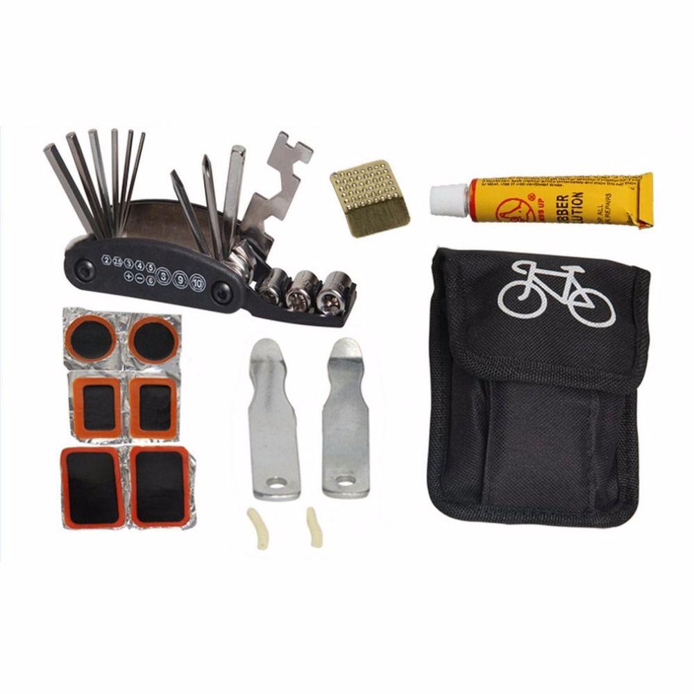 Fahrrad Reifenreparatur Werkzeuge Kit Set Tasche Multitool Radfahren Service Klapp Inbusschlüssel Werkzeug Fahrrad Portable Reitausrüstung w
