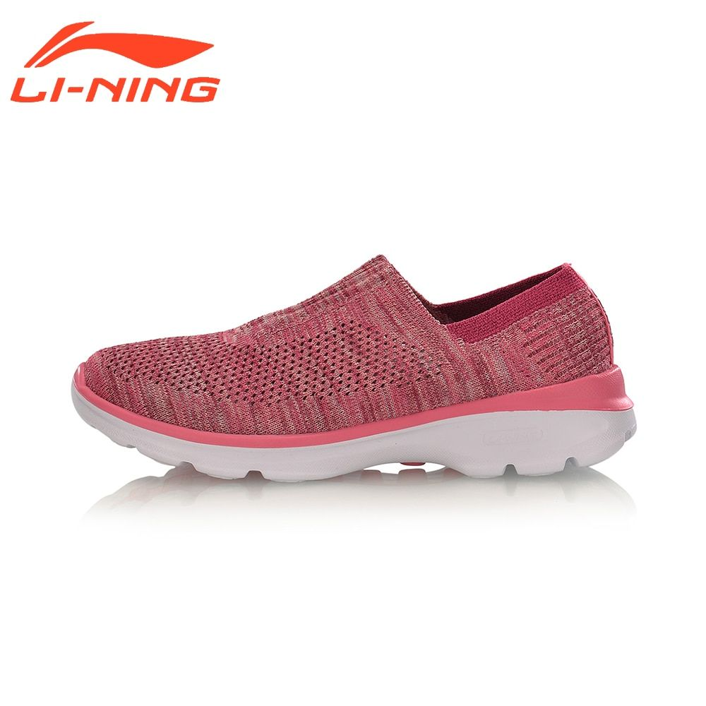 Li-Ning Women Walking Shoes Stretch Breathable Sneakers Light Weight LiNing Easy Walker Series Sports Shoes AGCM112
