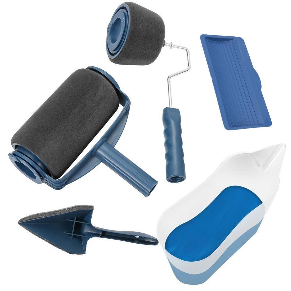 Multifonctionnel 5 pièces chemin de peinture Pro rouleau brosse outils ensemble rouleau de peinture ensemble pour salle mur peinture outils livraison directe