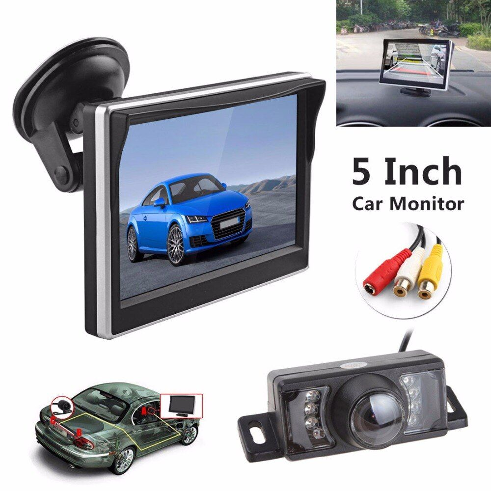 Écran LCD numérique 5 ''TFT HD 480x272 couleur moniteur de vue arrière de voiture + 7 lumières IR étanche 170 degrés caméra de vue arrière de voiture