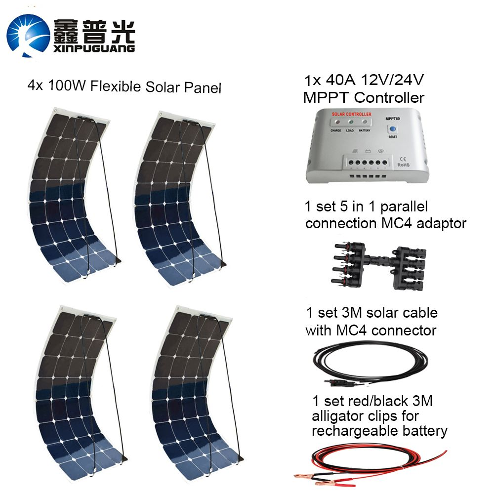 XINPUGUAN400w Solar system kit 40A MPPT controller MC4 adapter connector cable 100w flexible solar panel for 12v battery RV yard