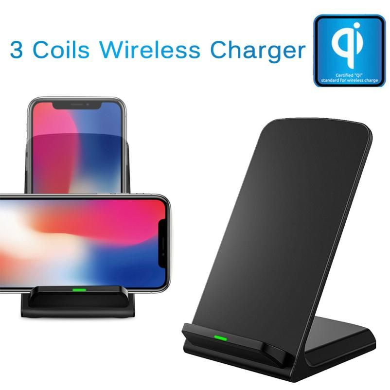 HL 2018 New 3-Coil Wireless Charger QI Wireless Charging Phone Stand For iPhone 8/8 Plus/X drop shipping oct6