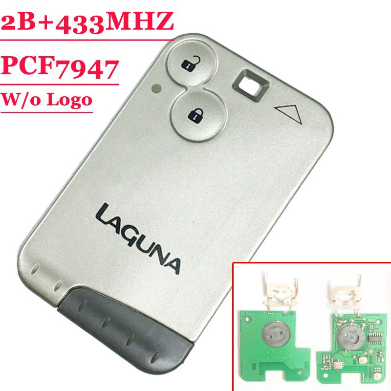 Free shipping 2 Button 433MHZ pcf7947 chip remote key card for Renault Laguna with grey blade with words (1piece)