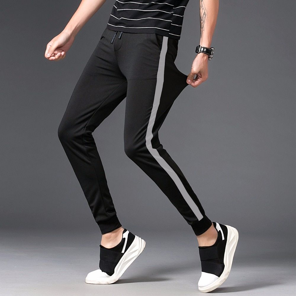2018 New Arrival High-quality Fashion Men's Casual Skinny Pants Black/Gray Stripe Trousers Slim Fit Hip Hop style Sweatpants 5XL