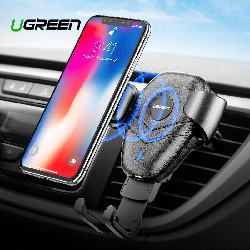 Ugreen Car Mount Qi Sans Fil Chargeur pour iPhone XS X XR 8 Rapide Sans Fil De Charge pour Samsung Galaxy S9 S8 support de Téléphone de voiture