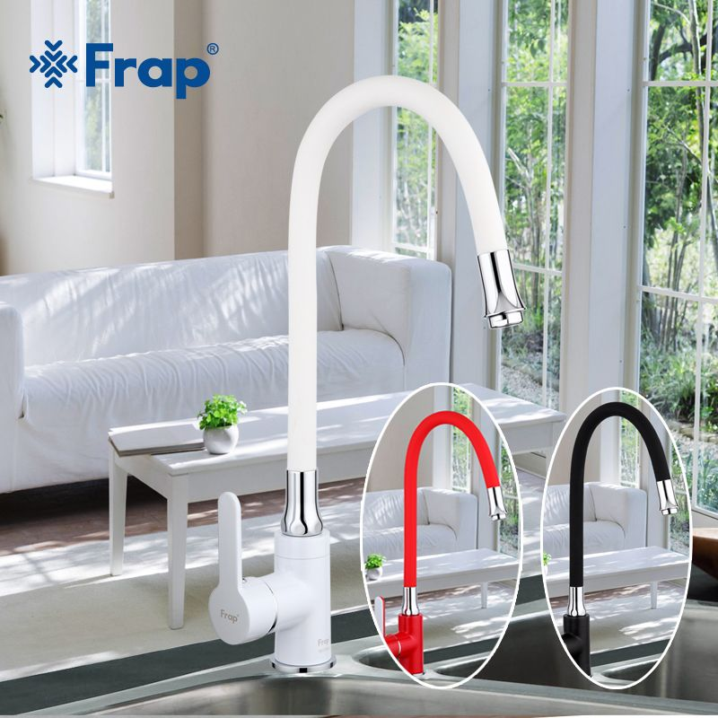 Frap Business Style Black White Red Silica Gel Nose Any Direction Kitchen Faucet <font><b>Cold</b></font> and Hot Water Mixer F4042 F4041 F4043