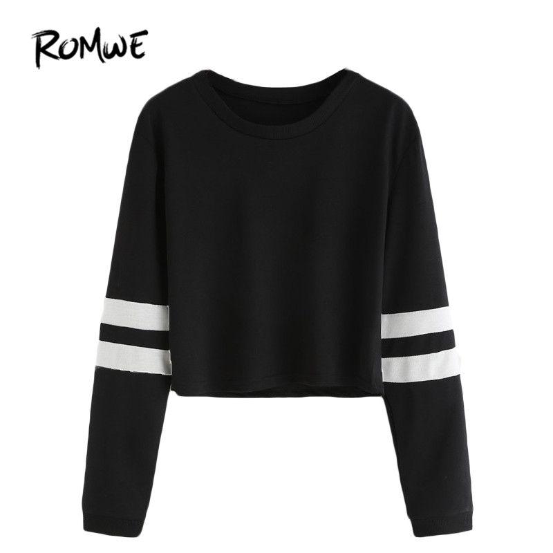 ROMWE T shirt Women 2018 <font><b>Clothing</b></font> Casual Ladies Autumn Tees Round Neck Varsity Striped Long Sleeve Crop T-shirt