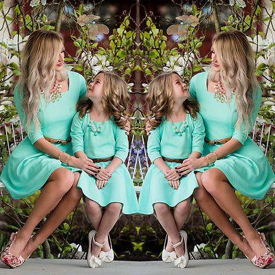 Мать и дочь согласованные хлопок Boho Мини-платья Для женщин Обувь для девочек праздник Платья для женщин
