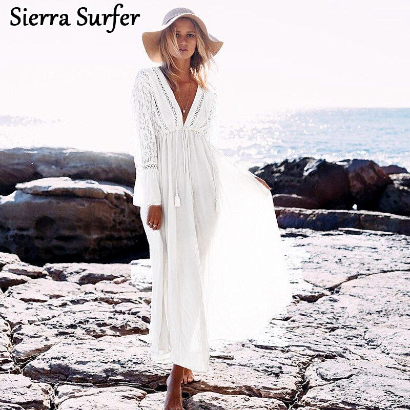 Pareo Beach Dress Kaftan Tunic Saida De Praia 2018 New Rayon Lace Long Sleeve Skirt Plavky Coverups Cangas Tunique Plage Esteira