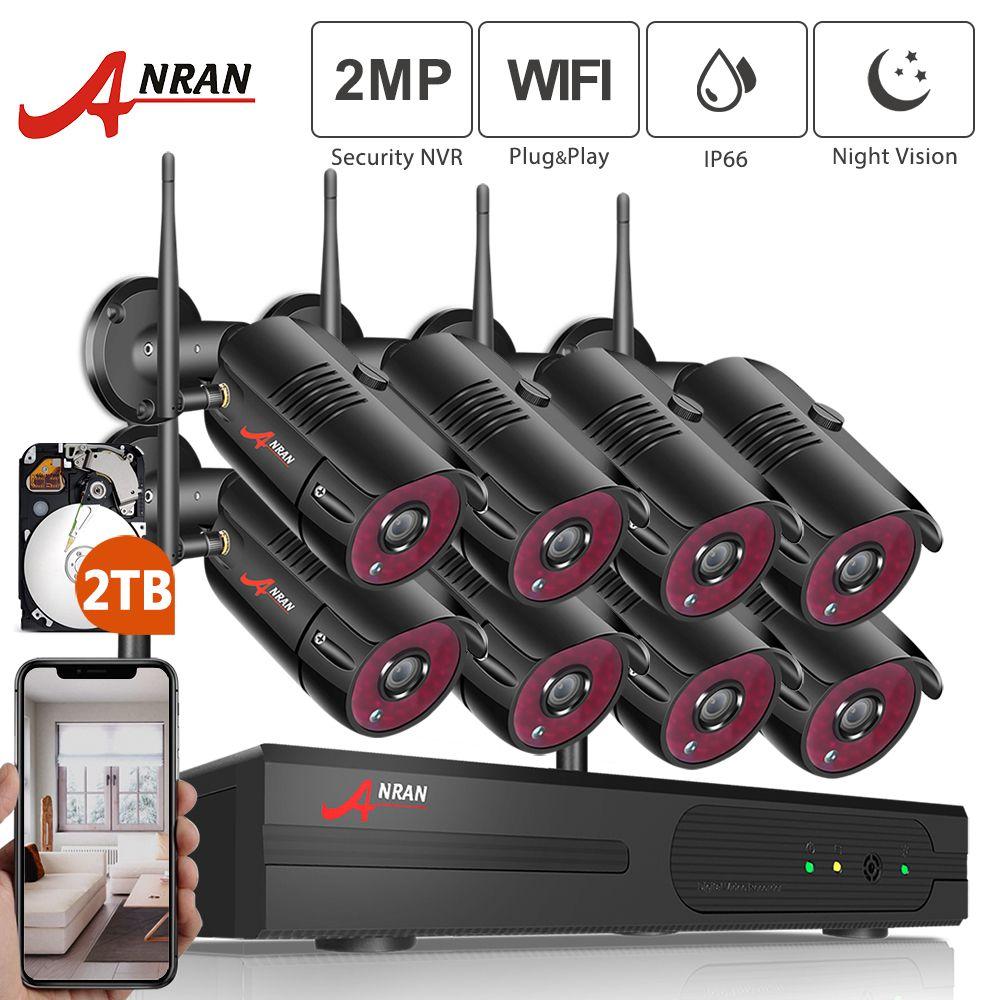 ANRAN 1080P HD IP caméras étanche système de Surveillance de Vision nocturne extérieure 8CH Kits NVR avec 2 to HDD pré-installé