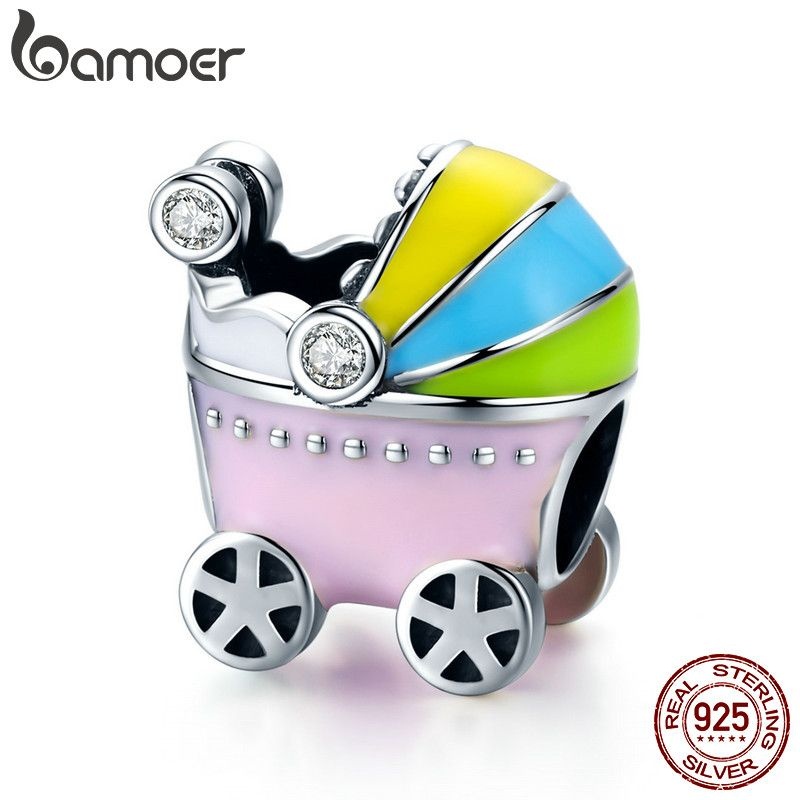 BAMOER 100% 925 Sterling Silver Little Baby Car Baby Carriage Color Enamel Charm Beads fit Girl Charm Bracelet Jewelry SCC505