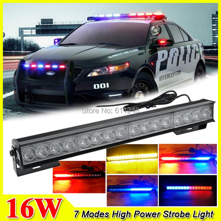 New 16W Hight Power Strobe Light Fireman Flashing Police Emergency Warning Fire Flash Stroboscope 12v Red Blue Led Police Lights
