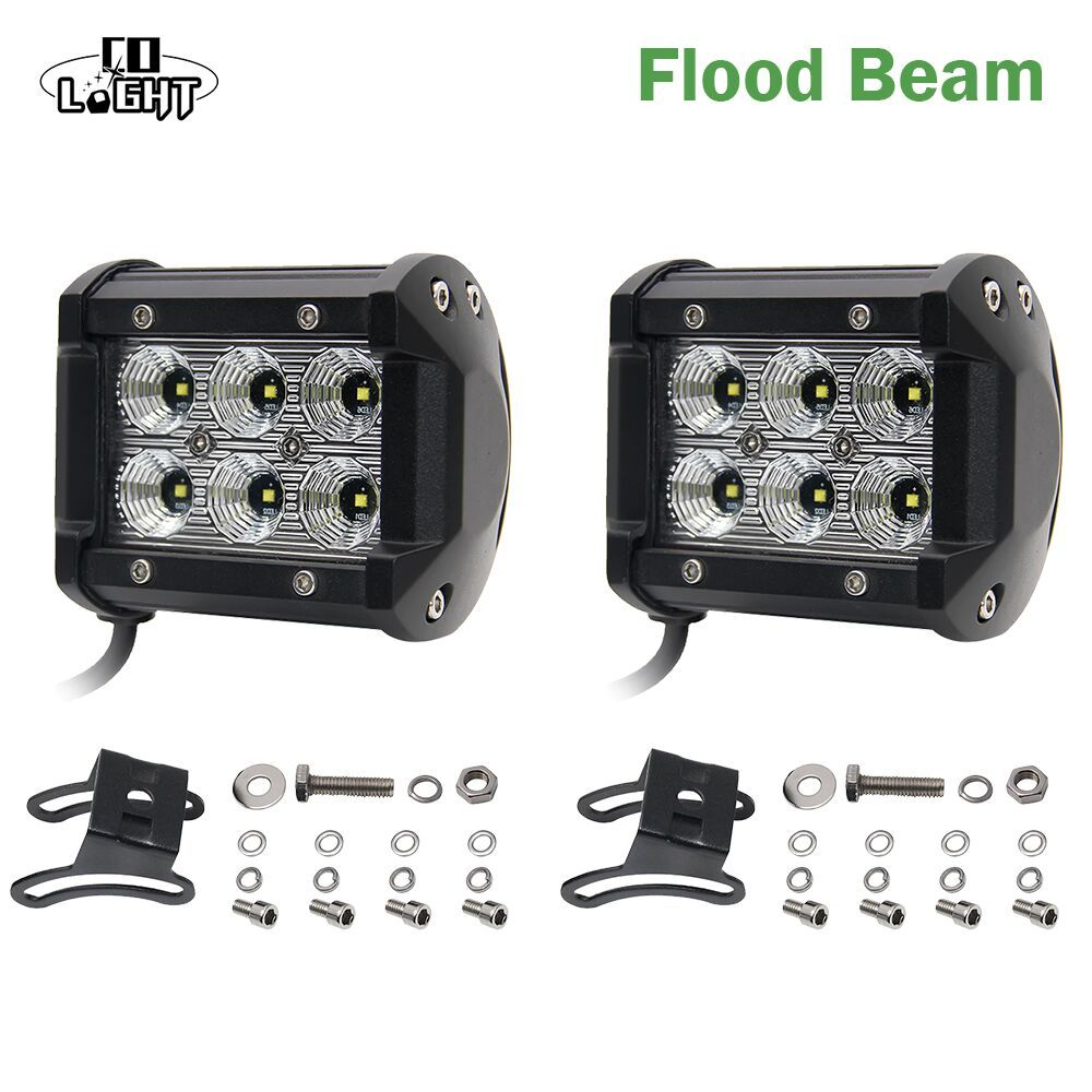 CO LIGHT Led Drl 2pcs 18W Led <font><b>Chip</b></font> 4'' Spot Flood Led Working Lights 12V 24V Automobiles for Lada Niva Uaz Toyota Honda Mazda