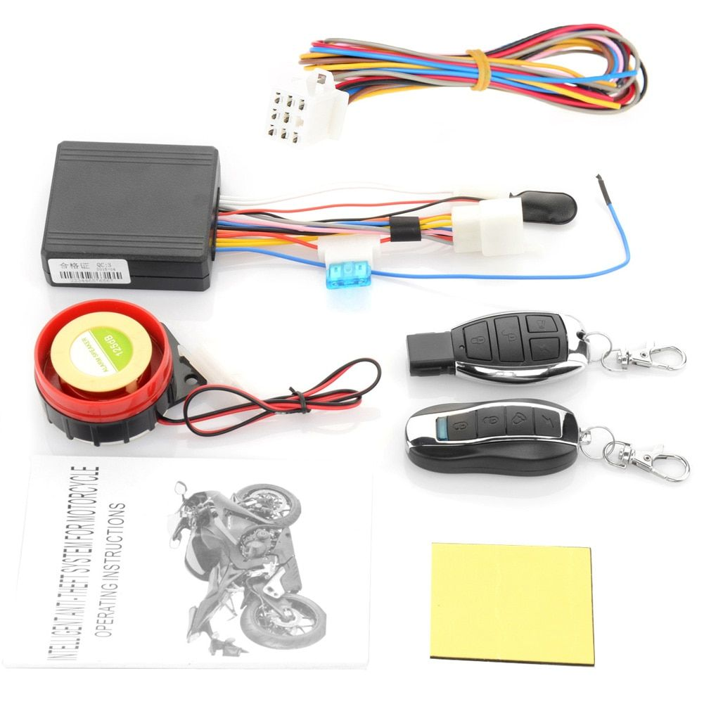 12V Motorcycle Moto Bike Anti-theft Horn Scooter Security Alarm System Remote <font><b>Control</b></font> Engine Start Keyless Entry Anti-line Cut
