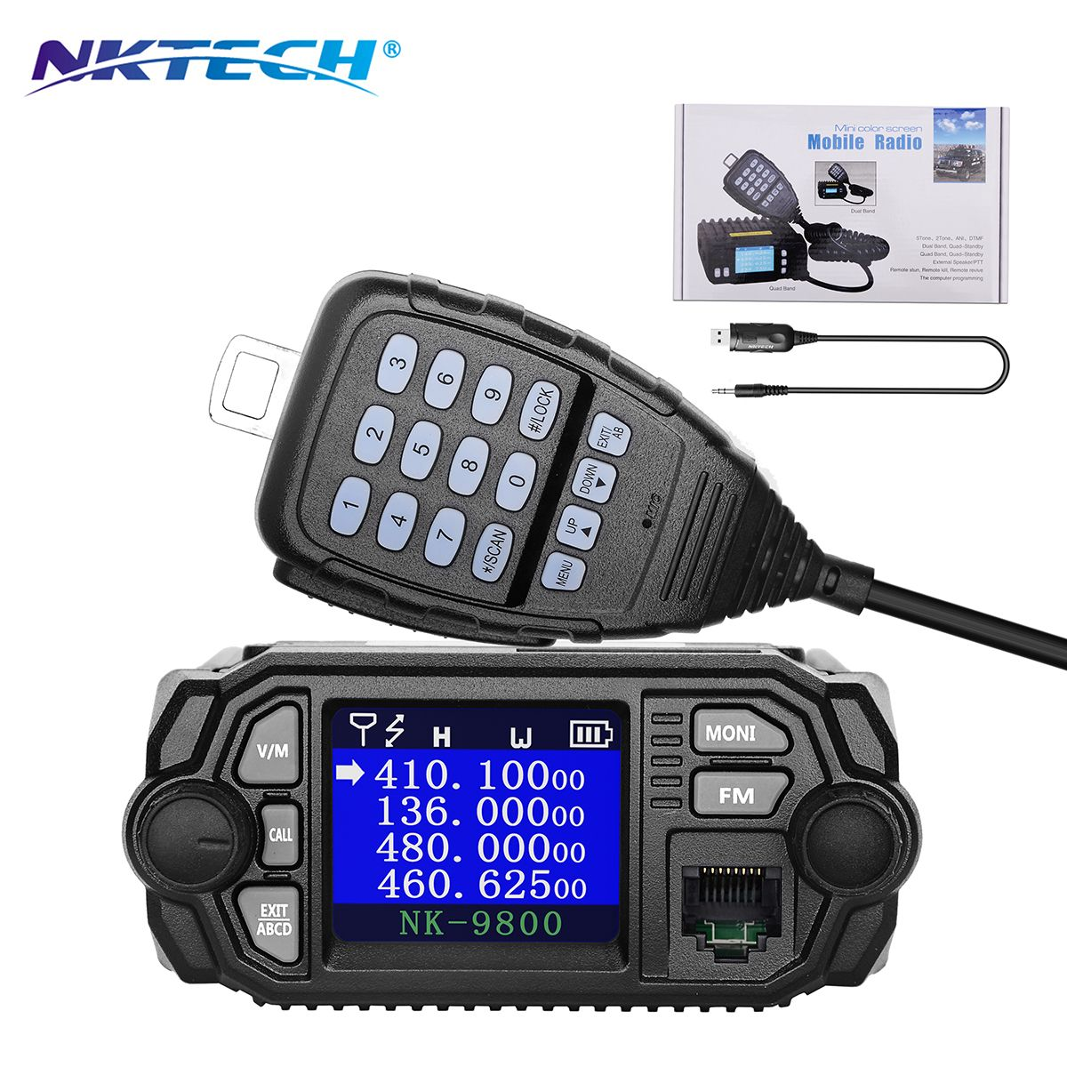 NKTECH NK-9800 Dual Band Quad Standby 5Tone 2Tone CTCSS/DCS 25W VHF 20W UHF Car/Trunk Mobile Transceiver + USB Programming Cable