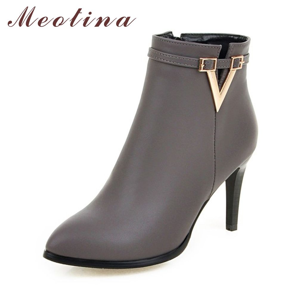 Meotina Women Shoes High Heel Ankle Boots Martin Boots Zip Fall Winter Pointed Toe High Heels Lady Shoes Gray Big Size 10 40 43