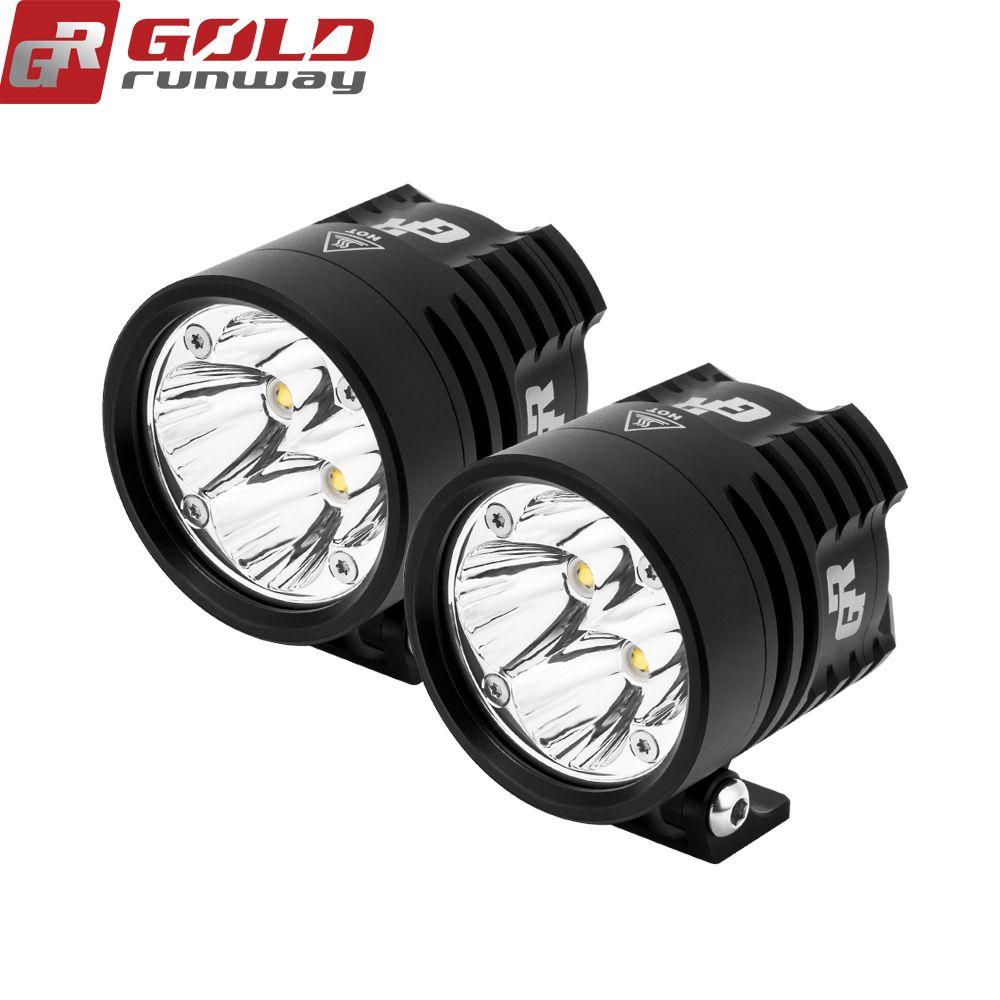2PCS GOLDRUNWAY GR EXP4 Super Bright High Power 24W 3000 Lumens Motorcycle Led Light Spot White Headlight Working Light DC 12V