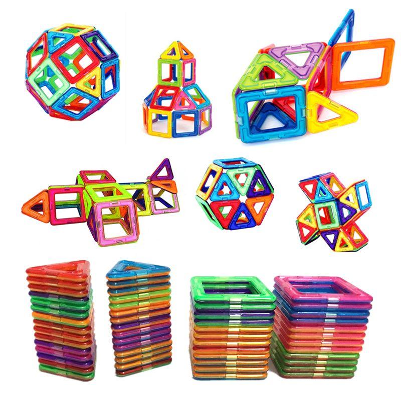 54 pièces grande taille blocs de construction magnétiques Triangle carré brique designer éclairer briques jouets magnétiques autocollants gratuits cadeau