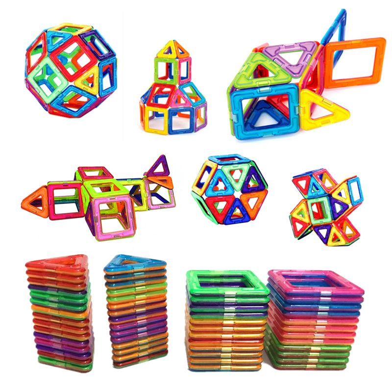 54pcs Big Size Magnetic Building Blocks Triangle Square Brick designer Enlighten Bricks Magnetic Toys Free Stickers Gift