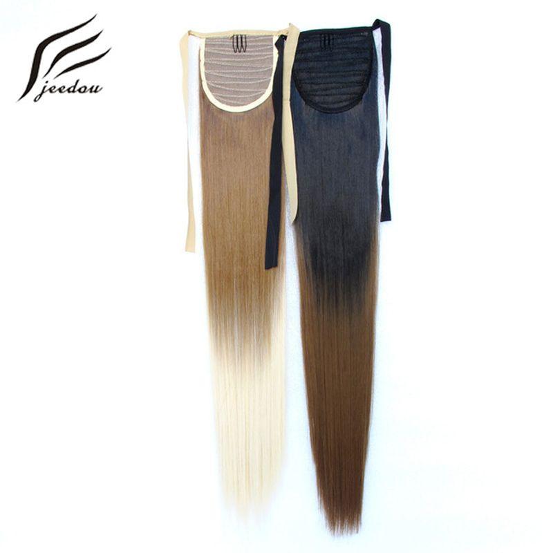 Jeedou Droite Cheveux Arc-En-Ombre Couleur 22 pouces 55 cm 90g Ruban Queue de Cheval de Cheveux Extensions Synthétique Noir Rose Naturel queues de cheval