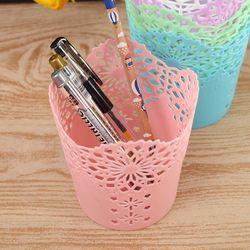 HOT Coloré Évider Stylo Crayon Porteurs De Stockage Maquillage Brosse Titulaire Bureau Organisateur Fleur Vase Pot Accessoires De Bureau Organisateur