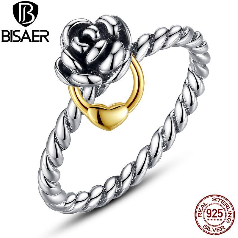 Genuine 925 Sterling Silver Rose Flower Ring 925 Silver Finger Rings  Original Luxury Jewelry WEU7113
