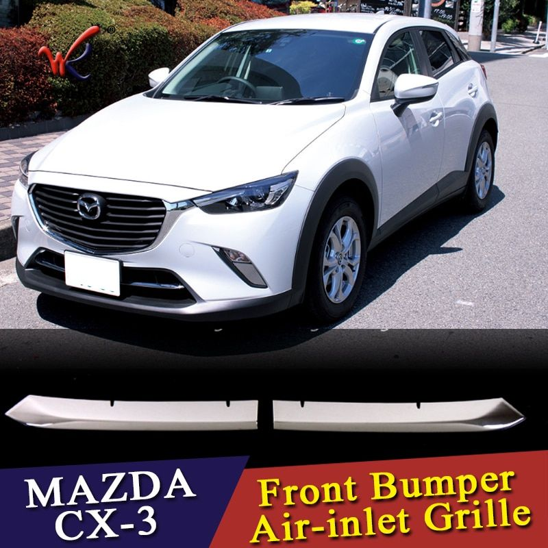 WK Car front grille trims for mazda cx-3 cx 3 2016 2017 2018 Front Bumper Air-inlet Grille,ABS chrome,2pc/lot,free shipping