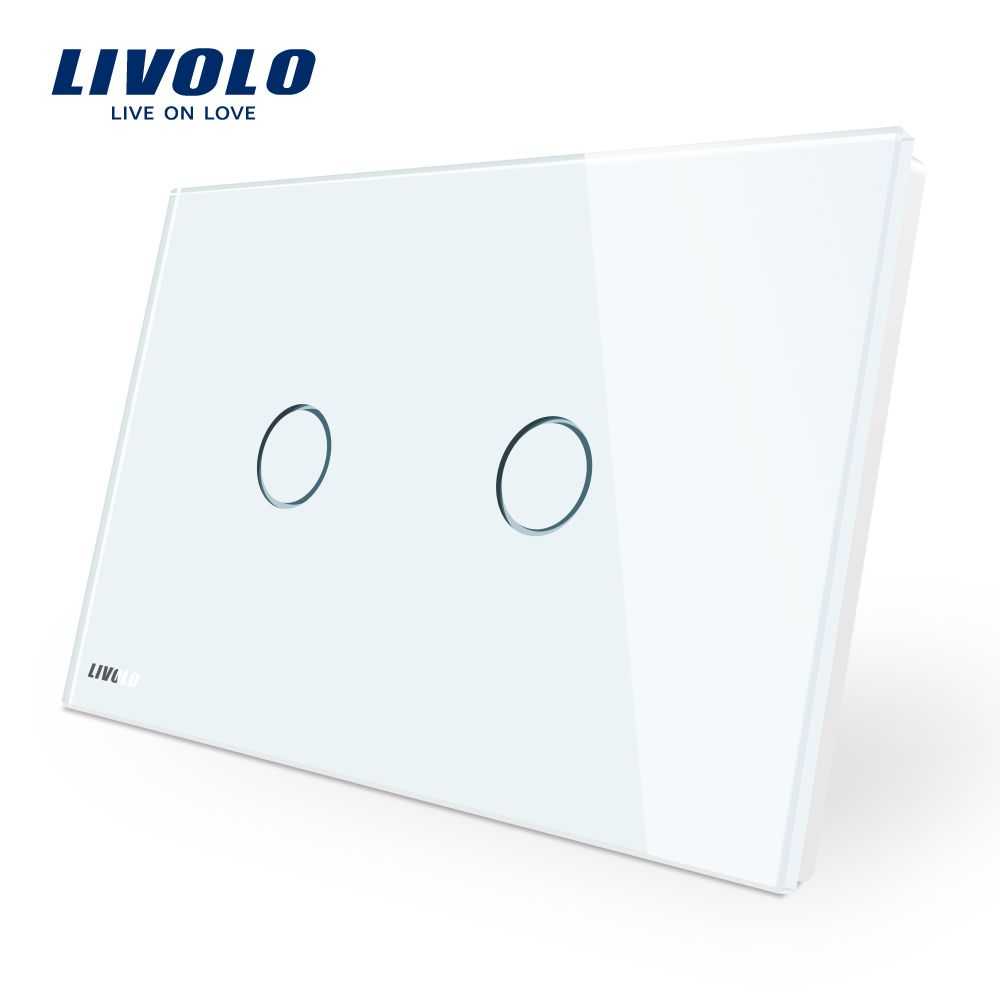 LIVOLO Wall Switch, 110~250V, Ivory White Glass Panel, AU/US Standard Touch Light Switch VL-C902-11 with LED indicator