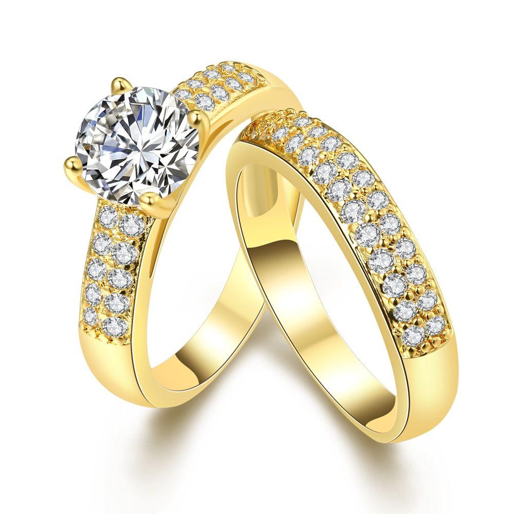 Set Of 2pk Jewellery Rings Pair Alliance Silver Plated White Crystal Ring Set Girls Eternal Flawless Fresh Rings Female Gift DIY