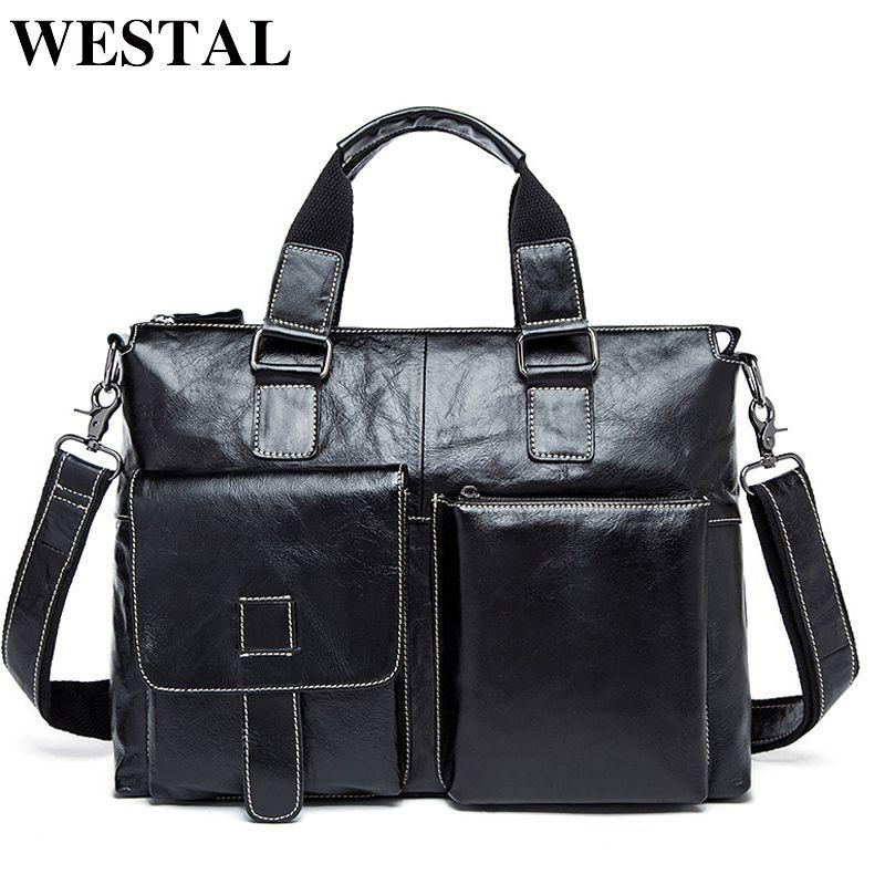 WESTAL Genuine Leather Men Bag Men Briefcases male Leather business Computer Laptop Bags Crossbody Bags Mens Messenger Bag 260