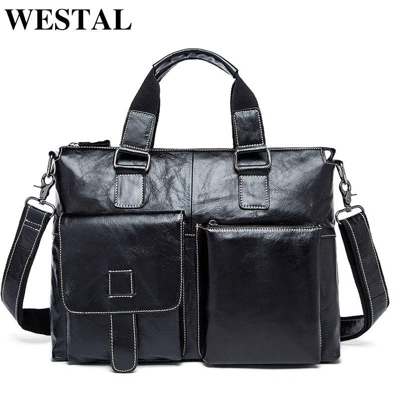 WESTAL Genuine Leather Men Bag Men Briefcases male Leather business Computer Laptop Bags Crossbody Bags Mens Messenger Bag 260