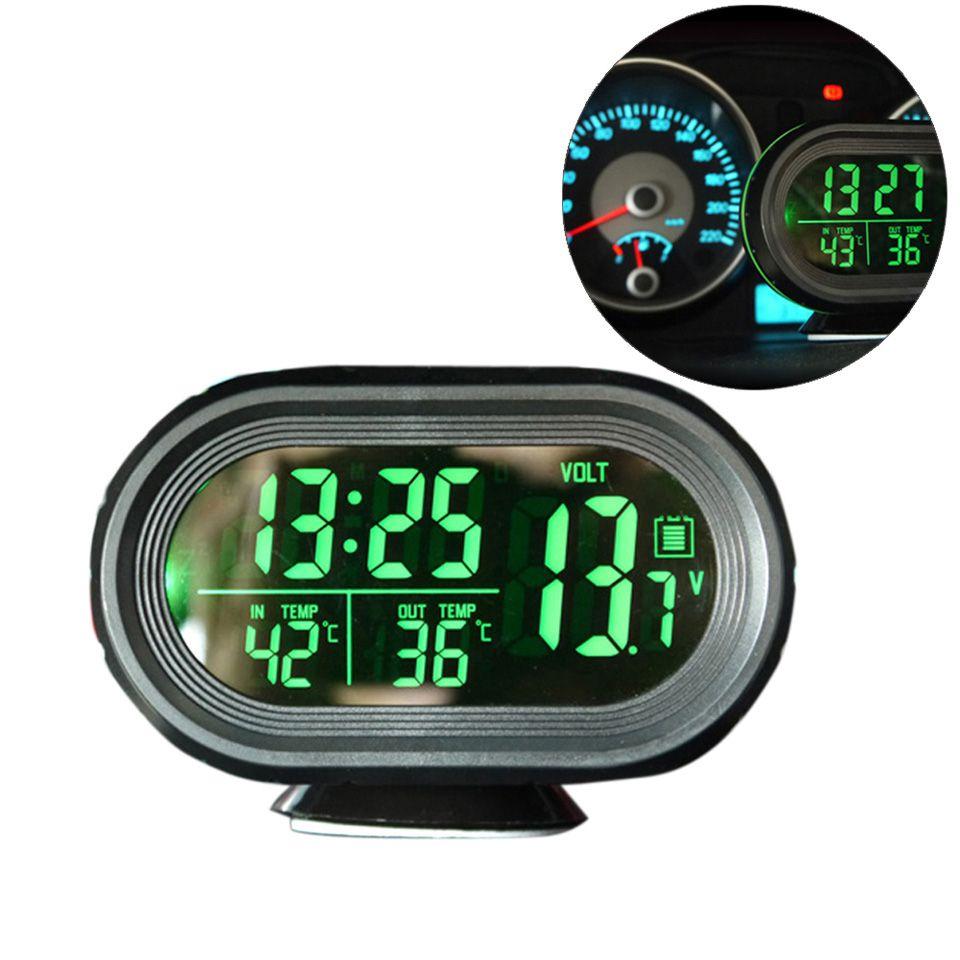 12V/24V Digital Auto Car Thermometer Car Battery Voltmeter Voltage Meter Tester Monitor Noctilucous Clock Freeze Alert