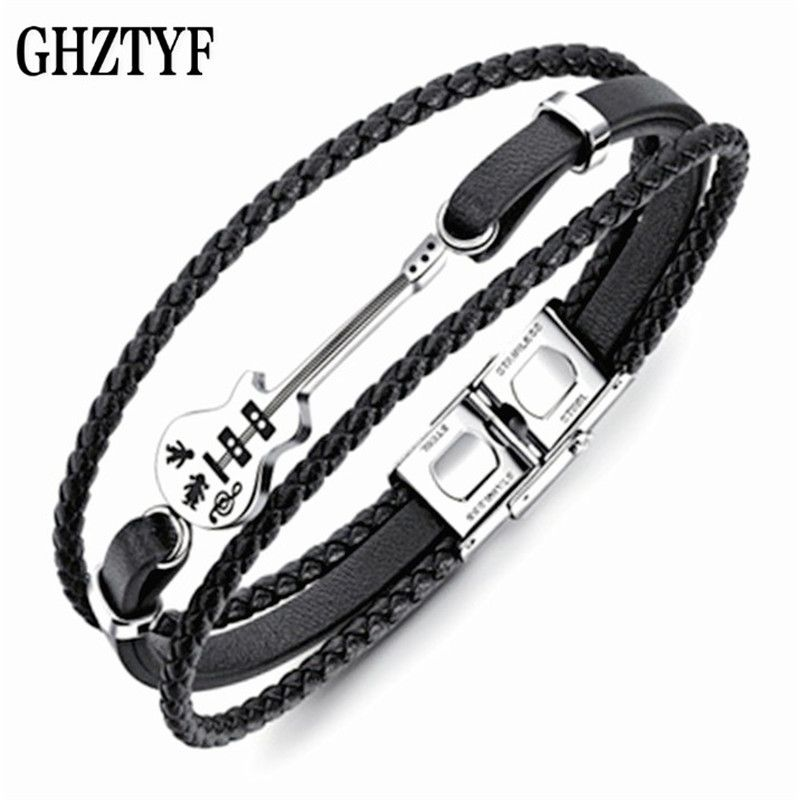 Men <font><b>Guitar</b></font> Leather Bracelet Gift Masculine Multilayer Cortex Stainless Steel Handmade Braided Bangle Male Rock Jewelry Present