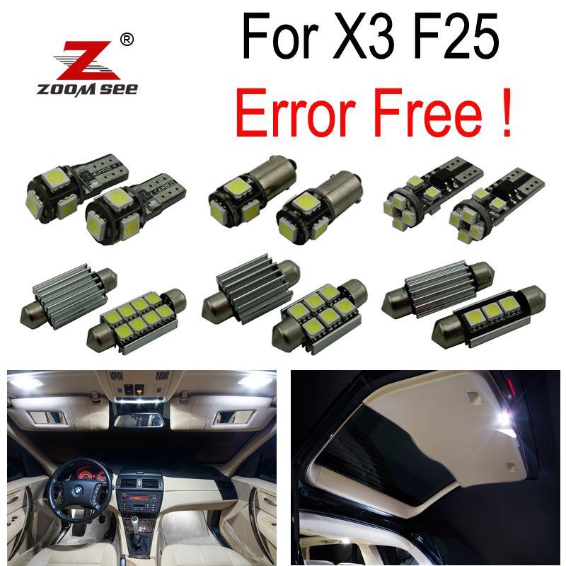 21 pc X Canbus sans erreur LED lecture ampoule intérieur carte dôme toit lumières Kit complet pour BMW X3 F25 (2011-2017)