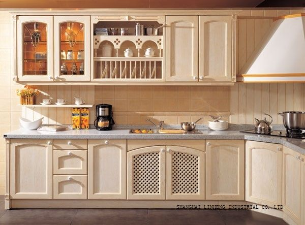 rural solid wood custom kitchen cabinets(LH-SW045)
