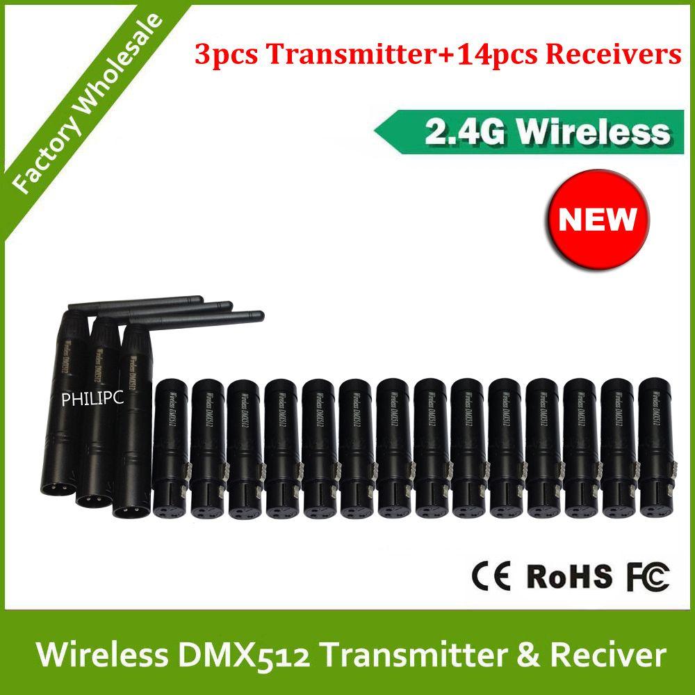 DHL Free Shipping 2.4G Wireless DMX512 signal Controller 3PCS DMX 512 Transmitter 14PCS DMX512 Receiver For Stage DJ Lighting