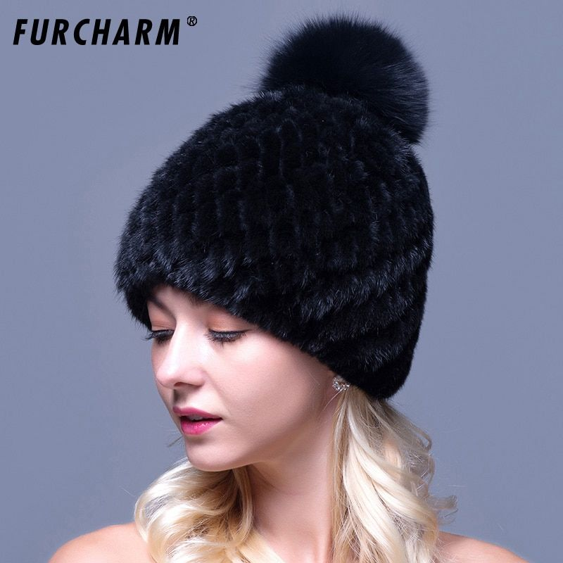 100% Mink Fur Hat For Women With Fox Fur Pompons High Quality Thicken Female Knitted Caps Real Mink Fur Hat for the Winter
