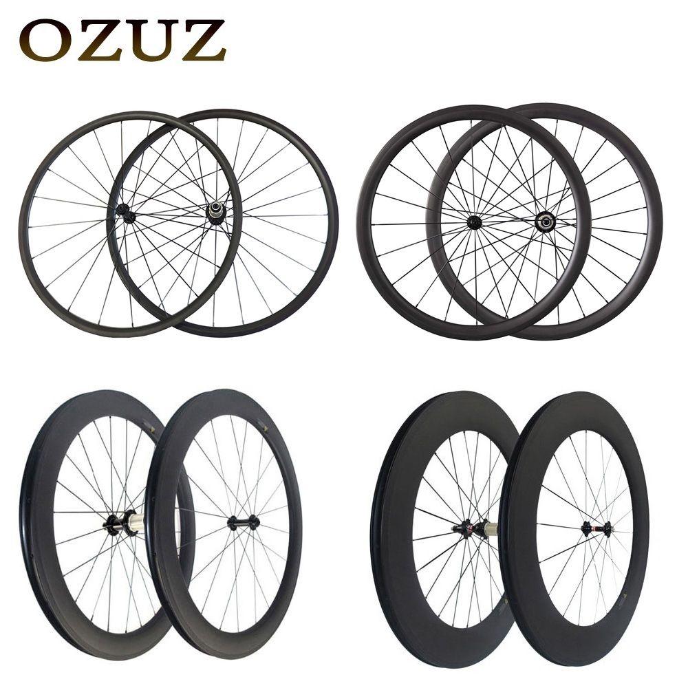 Straight pull v Brake 24mm 38mm 50mm 88mm carbon wheels clincher tubular 700c road bicycle wheelset 3k matte powerway r36