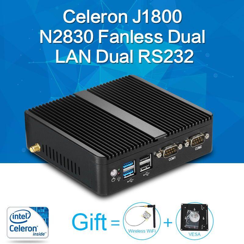 Mini PC Celeron J1800 N2830 8G RAM 128G SSD double RS232 double RJ45 max 2.58 GHz mini pc de bureau Micro Ordinateur HTPC Windows 10/8