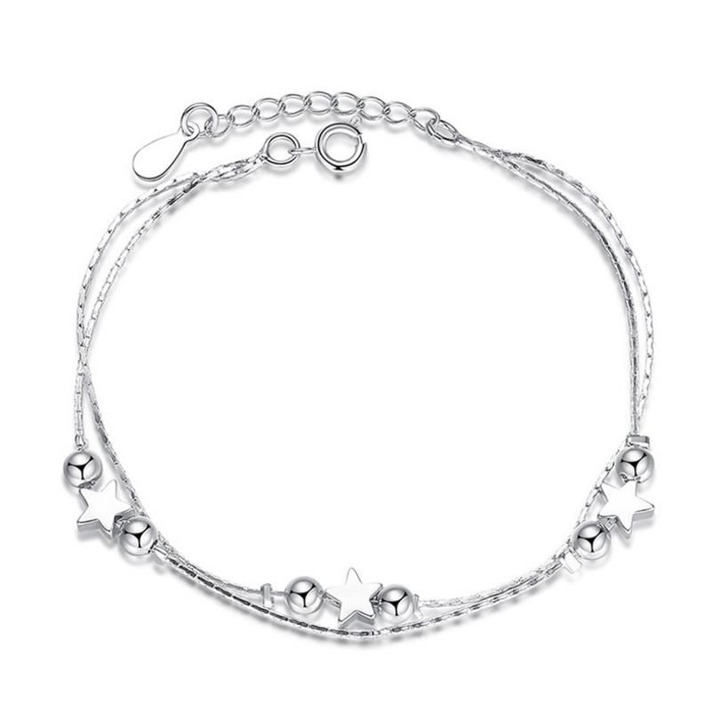 TB0 Real 925 Sterling Silver Star Heart Bracelets & Bangles for Women Jewelry Two Layer Chain Link Bracelet