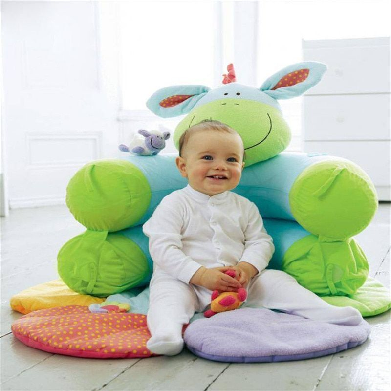 Green Donkey Inflatable Baby Sofa Seat Blossom Farm Sit Me Up Cosy Infant Play Mats Soft Sofa
