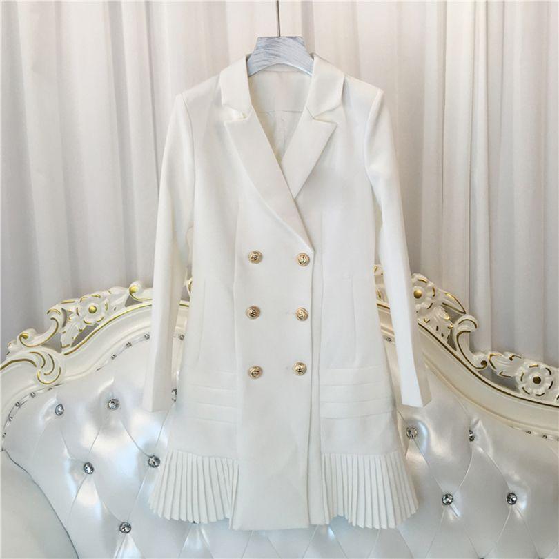 Haute qualité nouvelle mode 2019 robe de Designer de piste femmes à manches longues col cranté Double boutonnage Lion boutons robe