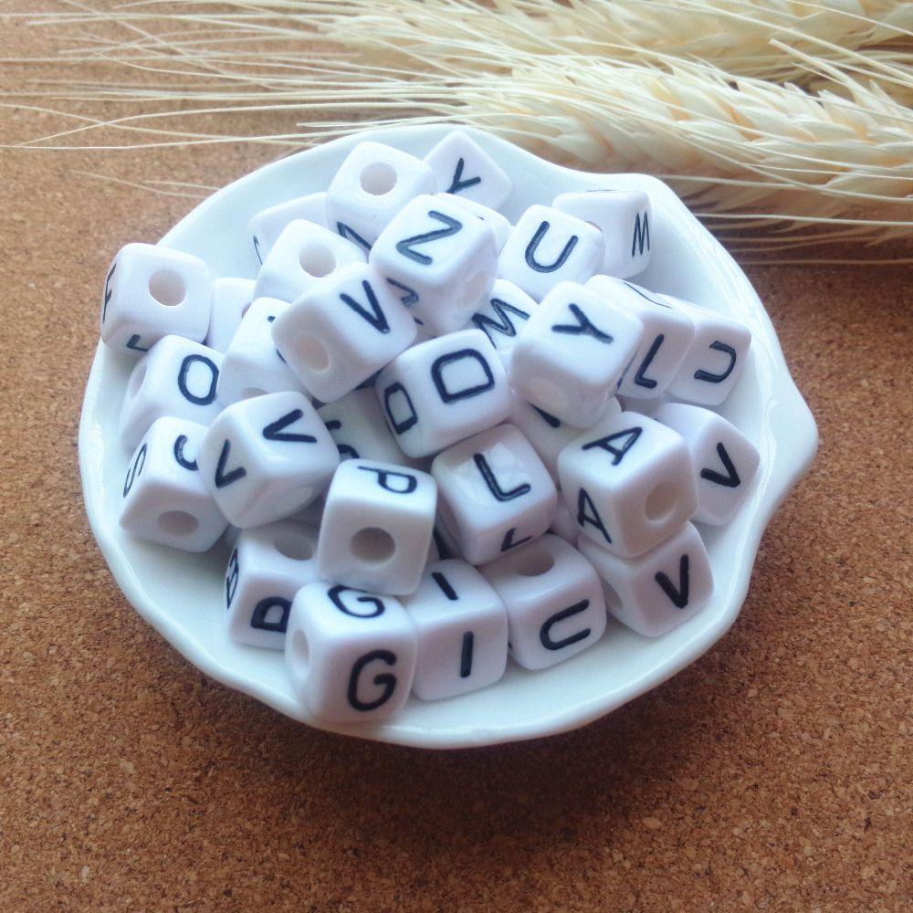 Завод прямые продажи 550 шт./лот смешанных-z 10*10 мм белый с черным печати Пластик акриловые площади cube буквы алфавита Бусины