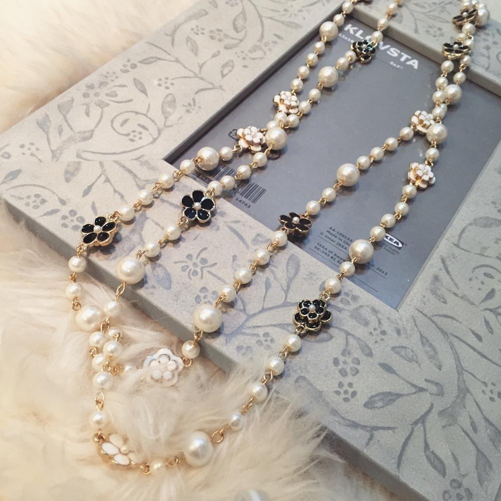 Bijoux coréens hiver fleur chandail chaîne longue perle collier pendentif bijoux double femme