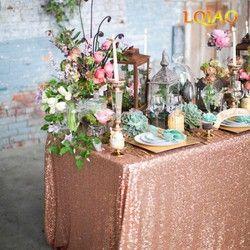 120x200 cm/120x400 cm Glitter Sequin RECTANGULAIRE Nappe-Rose Or Sequin Table Tissu pour Décoration de Noël De Noce
