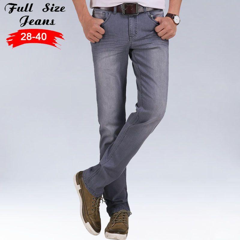 Spring Korea Retro Extra Long Stretch Jeans Men Straight Smoke Gray Long Casual Pants For Tall Men