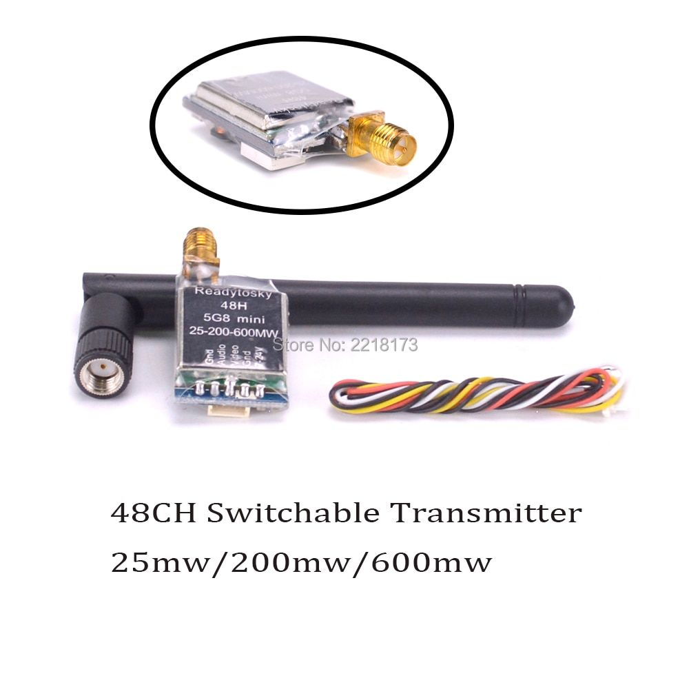 FPV Micro 5.8G 48CH 25MW 200MW 600MW Switchable Adjustable AV Wireless FPV Transmitter better than TS5828 For FPV Quadcopter