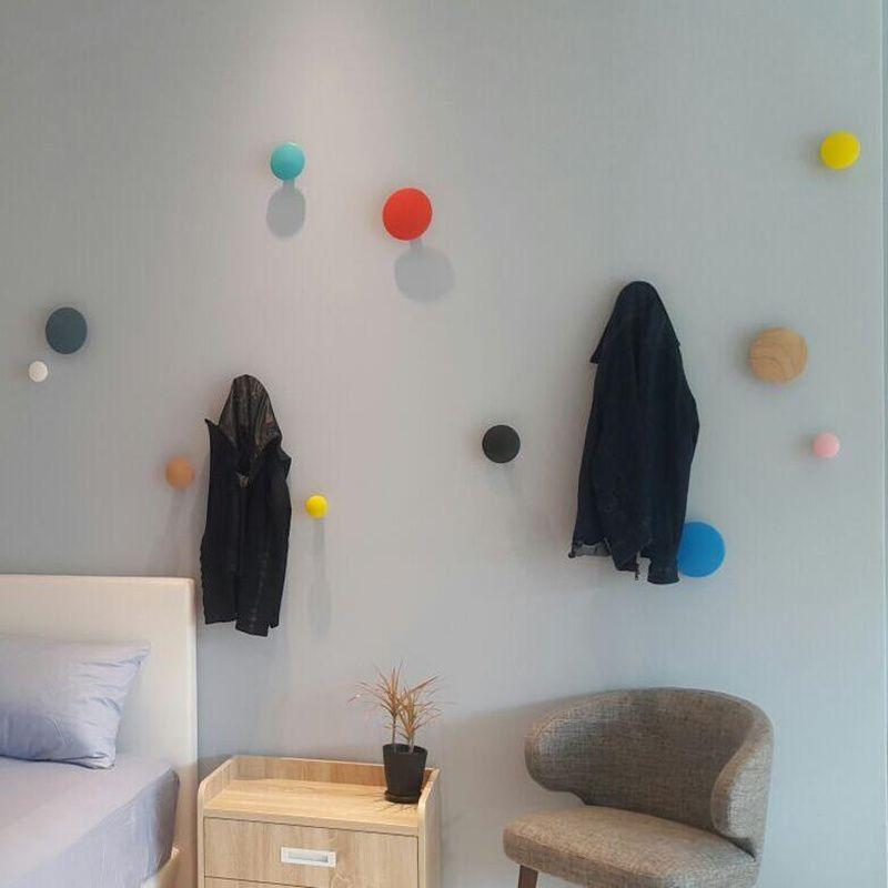 De stockage holde Naturel bois Simple Mode champignons Décoratifs Forme Mur Salle De Crochet Décoration Murale Vêtements Rack Sac Support Mural