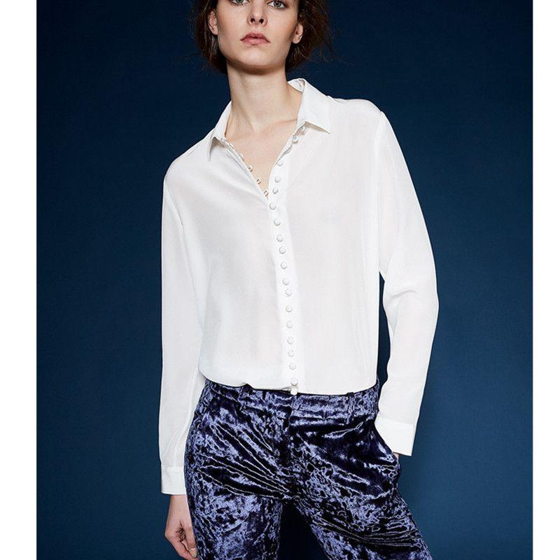 100% шелк блузка рубашка шифон Blusas женская обувь высокого качества Длинные рукава Белый Бежевый Цвет негабаритных Большие размеры взлетно-по...